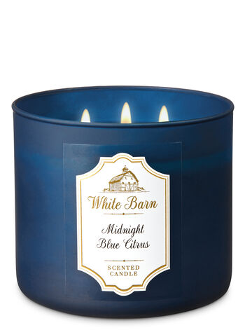 Midnight Blue Citrus 3 Wick Candle White Barn Bath