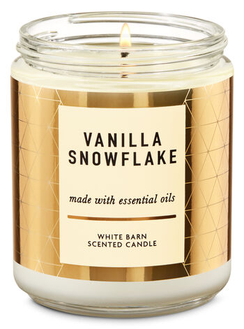 Vanilla Snowflake Single Wick Candle - Bath And Body Works