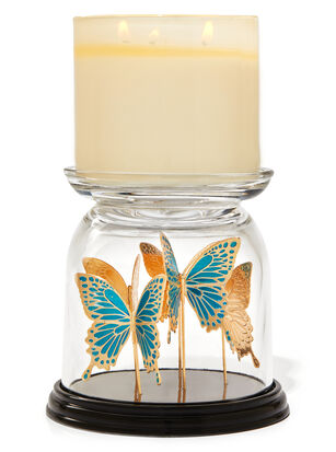 Butterfly Cloche Pedestal 3-Wick Candle Holder