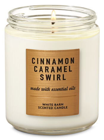 Cinnamon Caramel Swirl Single Wick Candle - Bath And Body Works
