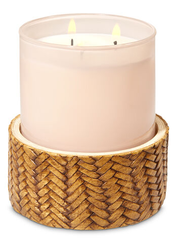 Basketweave Pedestal 3-Wick Candle Holder