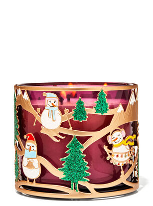 Skiing Snow Friends 3-Wick Candle Holder