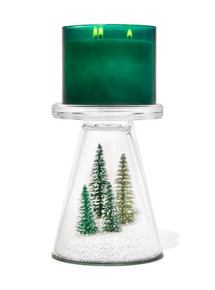 Snowy Forest Glass Pedestal 3-Wick Candle Holder