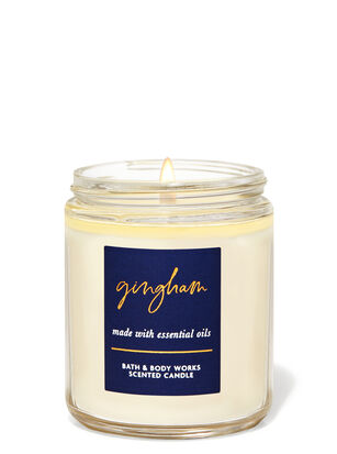 Gingham Single Wick Candle