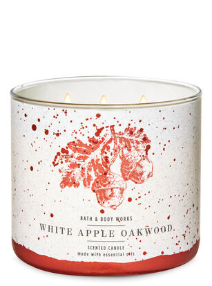 White Apple Oakwood 3-Wick Candle