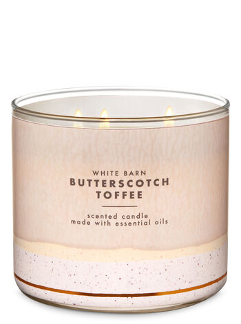 White Barn Butterscotch Toffee 3-Wick Candle - Bath And Body Works
