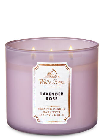 White Barn Lavender Rose 3-Wick Candle - Bath And Body Works
