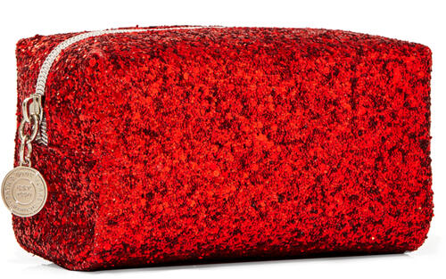 Red Glitter Cosmetic Bag