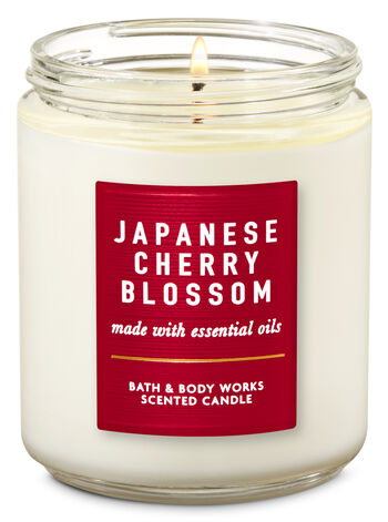 Japanese Cherry Blossom Single Wick Candle - Bath And Body Works