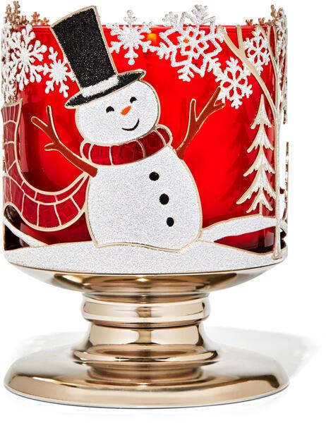 Joyful Snowman 3-Wick Candle Holder