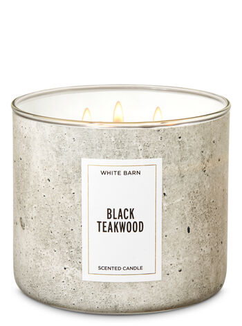 White Barn Black Teakwood 3-Wick Candle - Bath And Body Works