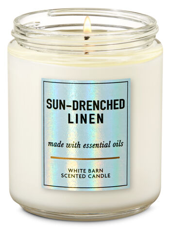 Sun-Drenched Linen Single Wick Candle - Bath And Body Works