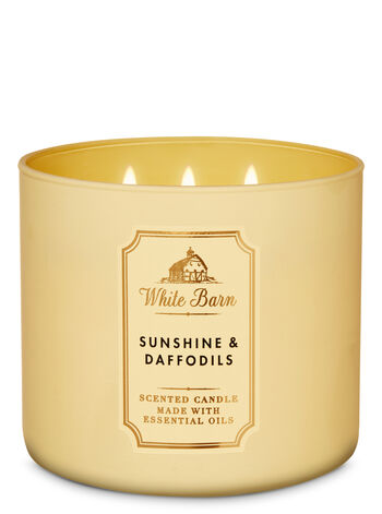 White Barn Sunshine & Daffodils 3-Wick Candle - Bath And Body Works
