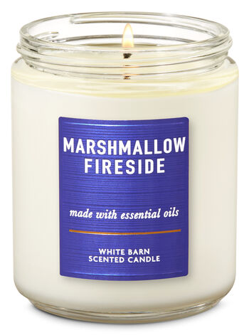 Marshmallow Fireside Single Wick Candle - Bath And Body Works