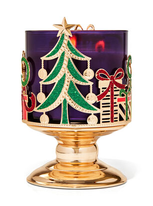 Sleigh & Presents Pedestal 3-Wick Candle Holder