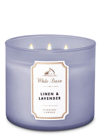 Linen Lavender 3 Wick Candle White Barn Bath Body Works
