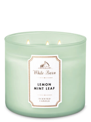 White Barn Lemon Mint Leaf 3-Wick Candle - Bath And Body Works