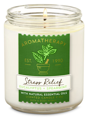 Aromatherapy Eucalyptus Spearmint Single Wick Candle - Bath And Body Works