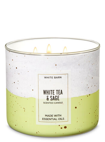 White Barn White Tea & Sage 3-Wick Candle - Bath And Body Works