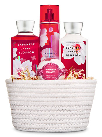 Japanese Cherry Blossom White Basket Gift Set - Bath And Body Works