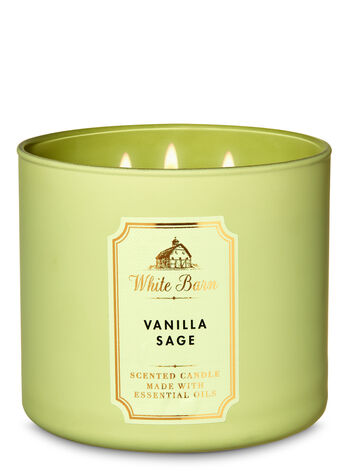 White Barn Vanilla Sage 3-Wick Candle - Bath And Body Works