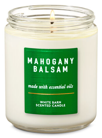 White Barn Mahogany Balsam Single Wick Candle - Bath And Body Works