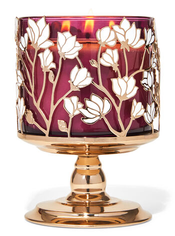 Magnolias Pedestal 3-Wick Candle Holder