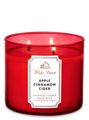 White Barn Apple Cinnamon Cider 3-Wick Candle - Bath And Body Works