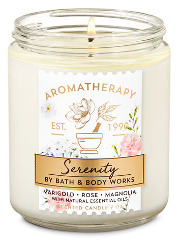 Aromatherapy Marigold Rose Magnolia Single Wick Candle - Bath And Body Works