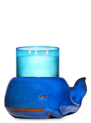 Ceramic Whale 3-Wick Candle Holder