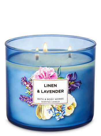 Linen & Lavender 3-Wick Candle - Bath And Body Works