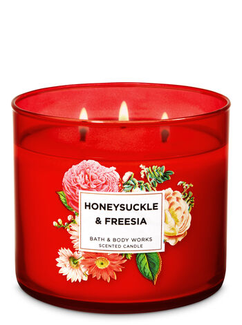 Honeysuckle & Freesia 3-Wick Candle - Bath And Body Works