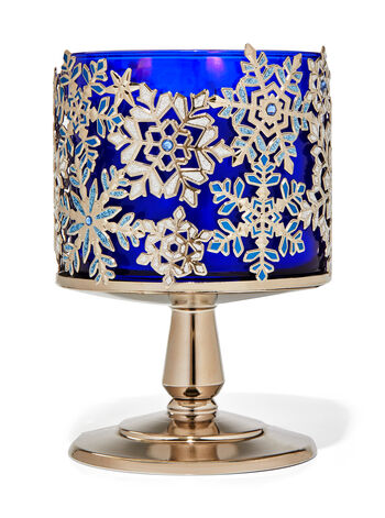 Jeweled Snowflakes Pedestal 3-Wick Candle Holder