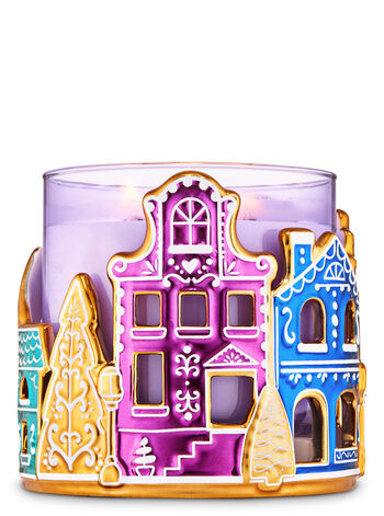 Ceramic Gingerbread Village 3-Wick Candle Holder