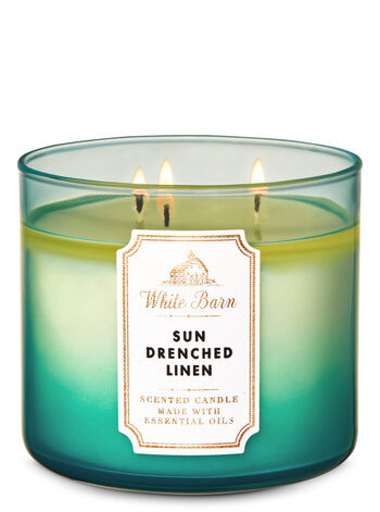 White Barn Sun-Drenched Linen 3-Wick Candle - Bath And Body Works