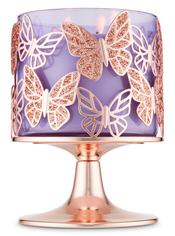 Rose Gold Glitter Butterflies 3-Wick Candle Holder - Bath And Body Works