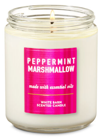 White Barn Peppermint Marshmallow Single Wick Candle - Bath And Body Works
