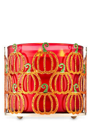Glittery Pumpkins 3-Wick Candle Holder