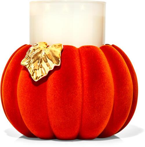 Flocked Pumpkin Pedestal 3-Wick Candle Holder
