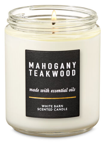 Mahogany Teakwood Single Wick Candle - Bath And Body Works