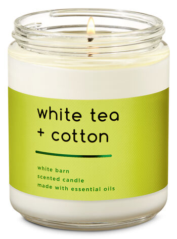 White Tea & Cotton Single Wick Candle - Bath And Body Works