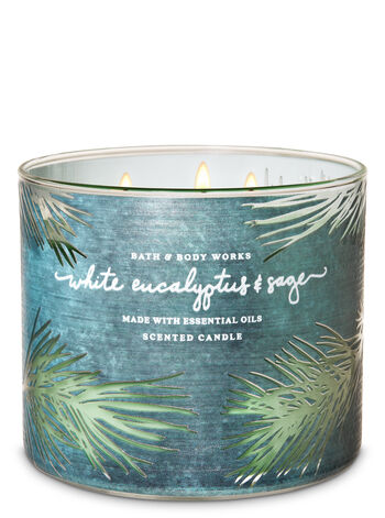 White Eucalyptus & Sage 3-Wick Candle - Bath And Body Works