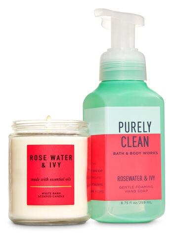 Rose Water & Ivy Single Wick & Gentle Foaming Hand Soap - Bath And Body Works