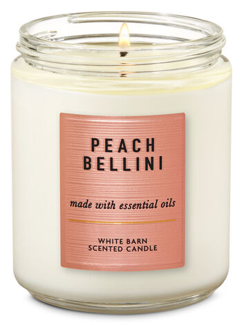 White Barn Peach Bellini Single Wick Candle - Bath And Body Works