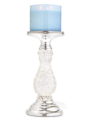 Silver Swirling Glitter Pedestal 3-Wick Candle Holder