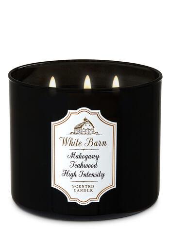 Mahogany Teakwood High Intensity 3 Wick Candle White Barn Bath