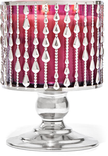 Beaded Pedestal 3-Wick Candle Holder