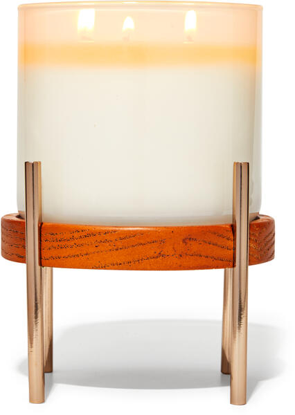 Mixed Material Pedestal 3-Wick Candle Holder