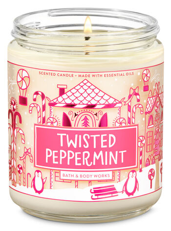 Twisted Peppermint Single Wick Candle - Bath And Body Works