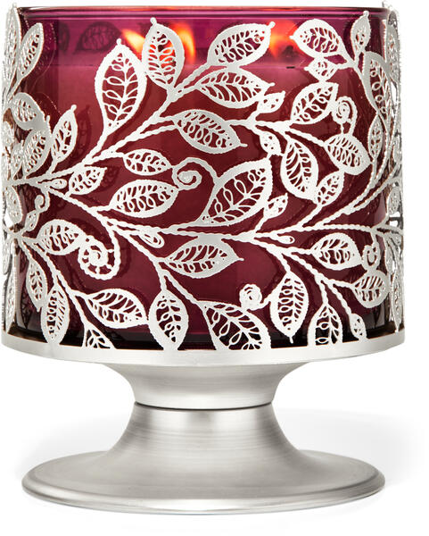 Silver Leaves 3-Wick Candle Holder